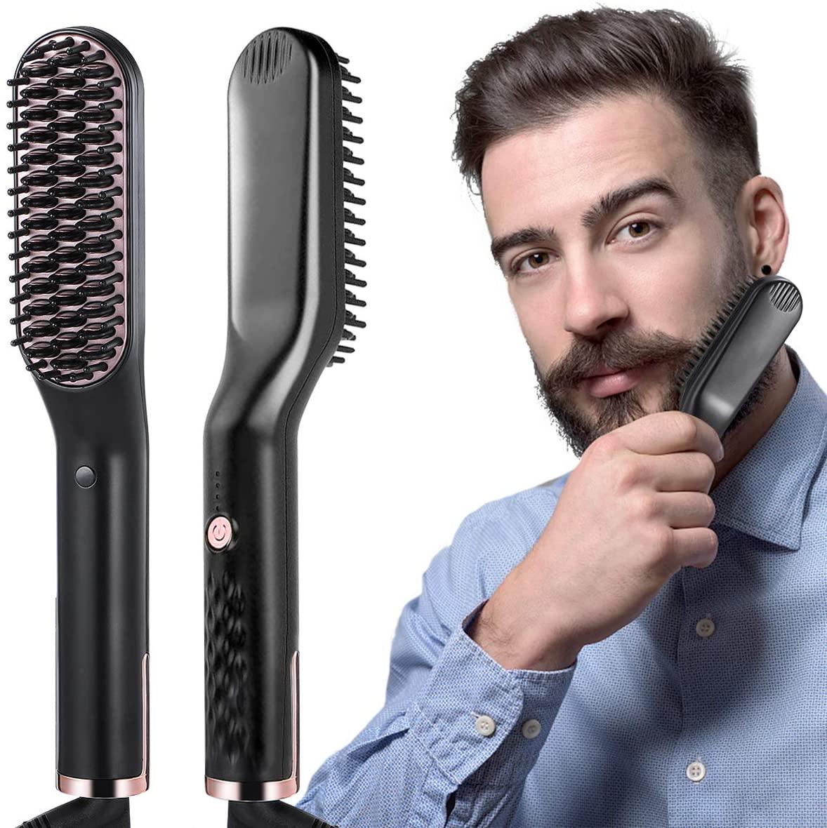 liaboe Cepillo Alisador de Barba 3 in 1 Profesional